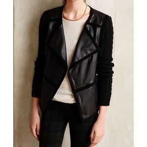 Elevenses Hiroumi Faux Leather Knit Moto Jacket L